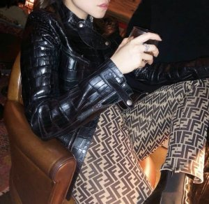 Fendi Pantalon taille haute bronze-marron clair