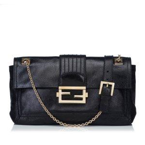 Fendi Leather Baguette Flap Bag