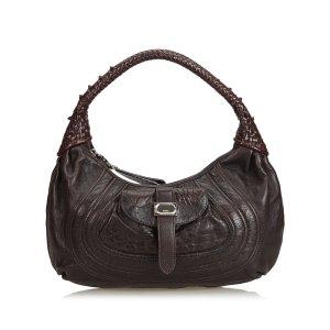 Fendi Shoulder Bag dark brown leather