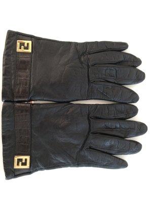 Fendi Leather Gloves black leather
