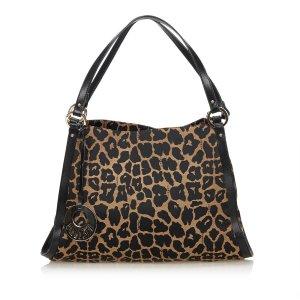 Fendi Leopard Canvas Handbag