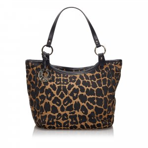 Fendi Leopard Print Canvas Handbag