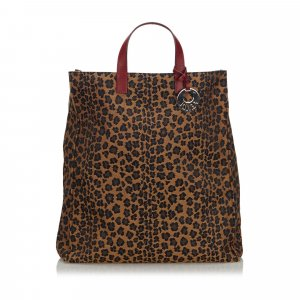 Fendi Leopard Print Canvas Tote Bag