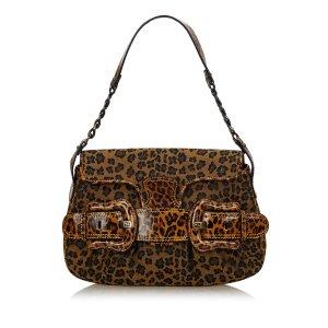 Fendi Leopard Printed Canvas Handbag