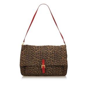 Fendi Leopard Printed Canvas Shoulder Bag