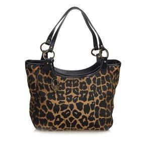 Fendi Leopard Printed Jacquard Shoulder Bag