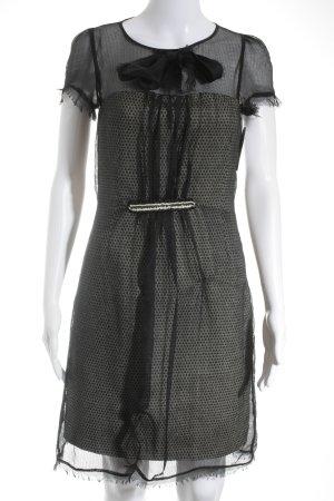 Fendi Midikleid schwarz-hellbeige Punktemuster Elegant