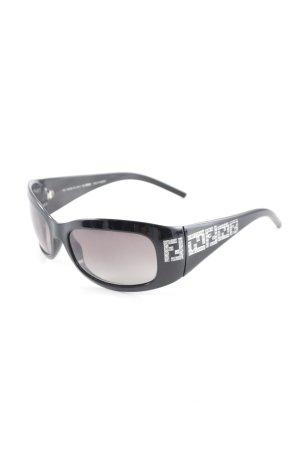 Fendi Gafas de sol ovaladas negro-color plata Patrón monograma look casual