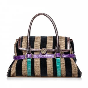 Fendi Pequin Canvas Handbag