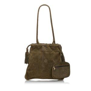 Fendi Pequin Suede Shoulder Bag