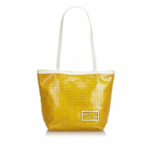 Fendi Perforated Patent Leather Tote Bag