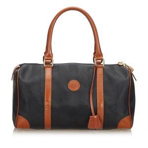 Fendi PVC Pequin Boston Bag