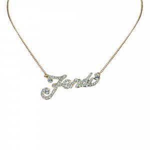 Fendi Rhnestone Logo Necklace