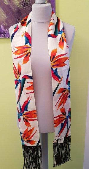Fendi Schal Seide Cashmere mit Blumenprint und Lederfransen Neu mit Etikett