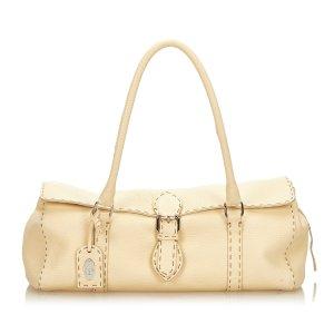 Fendi Handbag beige leather