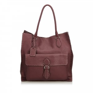 Fendi Selleria Leather Pocket Tote Bag