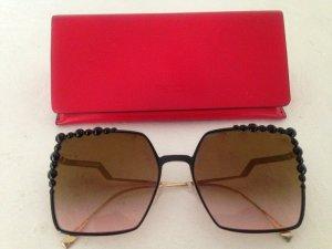Fendi Angular Shaped Sunglasses black-silver-colored metal