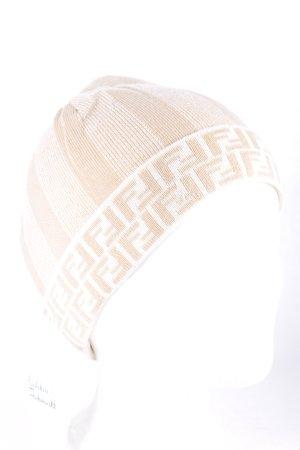 Fendi Strickmütze beige Monogram-Muster sportlicher Stil