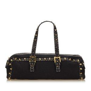 Fendi Studded Selleria Cotton Shoulder Bag