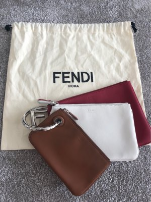 Fendi Trio Clutch Triplette rot weiß braun