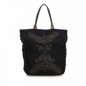 Fendi Wood Embroidered Cotton Tote Bag