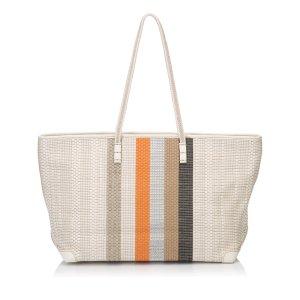 Fendi Woven Leather Striped Shoulder Bag