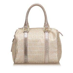 Fendi Zucchino Jacquard Boston Bag