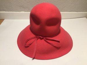 Chapeau en feutre rose fluo laine