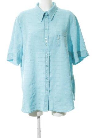 FER Camicia a maniche corte azzurro motivo a righe stile casual