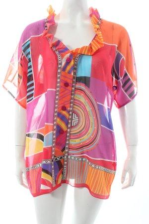 Féraud Kurzarm-Bluse abstrakter Druck Hippie-Look