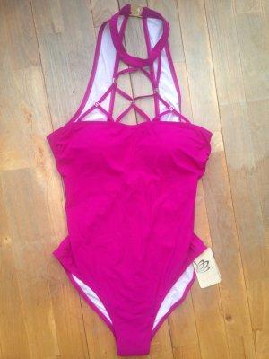 Feraud Neckholder Badeanzug pink Impressionen 80B Gr 38 Neu Strass