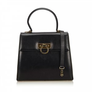 Ferragamo Calf Leather Gancini Satchel