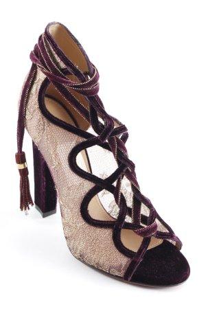 Ferragamo Escarpins à lacets violet-doré style extravagant