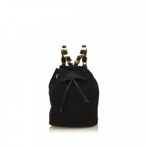 Ferragamo Tiered Grosgrain Drawstring Chain Backpack