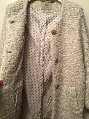 Abrigo corto beige claro-blanco puro