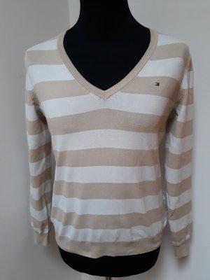 Tommy Hilfiger V-Neck Sweater cream-beige cotton