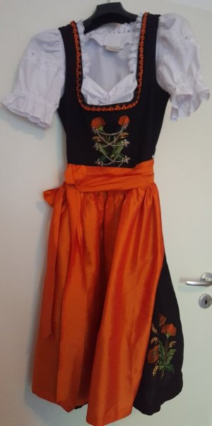 Fesches Drindl (mit Bluse) in schwarz- orange