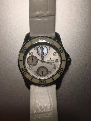 Festina Damenuhr Armbanduhr Uhr weiß Leder