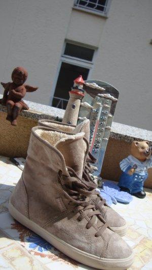 FESTIVAL-BOOTS ESPRIT CHUCKS SNEAKER BOOTS STIEFELETTEN TURNSCHUHE ANTIK-ECHTLEDER & PLÜSCH/TEDDYFUTTER NUDE-LOOK HELLBEIGE/SAND NEU BOHO BOHEME HIPPIE BÜRO/OFFICE EU 37 UK4 NEUPREIS 99,99€!!!!!!