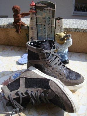 FESTIVAL-BOOTS LAURA SCOTT HIGH-TOP-SNEAKER GLITZER-STYLE BOOTS STIEFELETTEN TURNSCHUHE ECHTLEDER BOHO BOHEME HIPPIE BÜRO/OFFICE 36/36,5/37 NEUPREIS 95,95€!!! NEU!!!