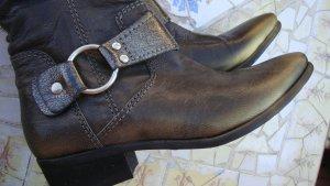 FESTIVAL-BOOTS!!! XYXYX ECHTLEDER ANTIKLEDER STIEFEL BIKER-BOOTS COUNTRY COWBOY WESTERN metallic 36/37 NEU Neupreis 180 Euro!!! Gerne Preisvorschlag!!!