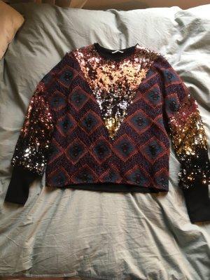 Festival Pullover Sweatshirt bunt Muster Glitzer  palietten boho Hippie Vintage Blogger Trend Electro
