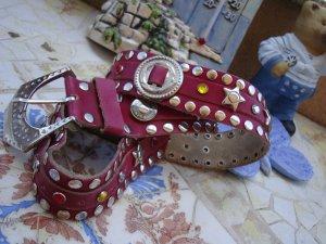 Avantgarde Studded Belt magenta-pink leather