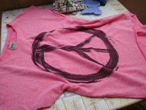 FESTIVAL-STYLE!!! ONLY-Shirt TOP PINK PEACE ROSA OVERSIZE-STYLE (wie Einheitsgrösse) Boho, Bohème, Hippie, Vintage-Style...  NEU!!! XS/S/M/L 34/36/38/40 Mit PEACE-PRINT PEACE-DRUCK!!! BATIK-STYLE USED-WASH NEUPREIS 39,95€!!!