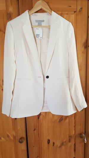 H&M Blazer de esmoquin blanco-negro