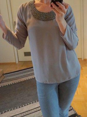 Festliche Bluse mit Perlenbesatz in schönem Beige-Grau