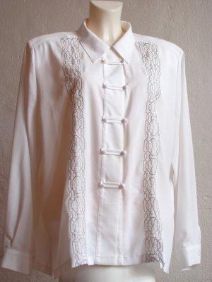 Festliche Vintage Hipster Bluse mit Silberstickerei Gr. 46