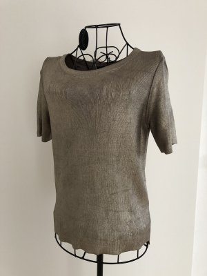 Zara Knit Sweater met korte mouwen goud Viscose