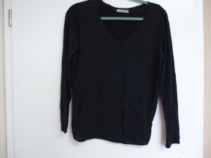 Zabaione Jersey con cuello de pico negro-color plata tejido mezclado