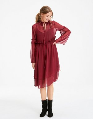 Festliches Babydoll Kleid in bordeaux
